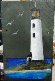 Lighthouse - Handpainted acrylic on Buckingham VA slate - roof tile Lighthouse Handpainted acrylic on Buckingham VA slate roof Slate Art, Slate Rock, Slate Tiles, Painted Slate, Painted Rocks, Tole Painting, Painting On Wood, Lighthouse Painting, Paint And Sip