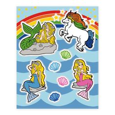 Mermaids and Magic  - Share all the fantasy, majesty and mystery of the sea with these magical mermaid and unicorn stickers! Perfect to share with your friends! Decorate your room, computer, notebooks, and lockers with these sassy, glamorous, and magical creatures! Live your life like a true princess and decorate the world with unicorns and mermaids stickers!