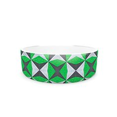 Kess InHouse Empire Ruhl Silver and Green Abstract Pet Bowl 475Inch Green Black -- Continue to the product at the image link.