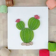 String art - cacto another beautiful cactus,. Decoration Cactus, Cactus Craft, Cactus Cactus, Nail String Art, String Crafts, Crafts To Make, Arts And Crafts, Diy Crafts, String Art Patterns