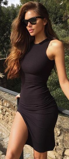 #summer #outfits #inspiration | Ribbed Little Black Dress