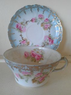 Antique Elbogen Made in Austria Fine China Blue White Gold Pink Peonies Daisies