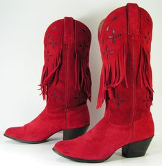 red cowboy boots womens 8 B tassels suede by vintagecowboyboots, $89.99