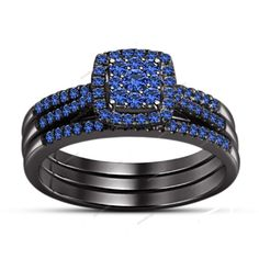 1.93 CT Rd Sapphire Cluster Flower Design 925 Silver Prong Sett. Bridal Ring Set #aonedesigns