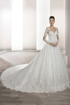 Cheap bride gowns, Buy Quality sleeved wedding directly from China long sleeve wedding Suppliers: Vestido de Noiva New Style Long Sleeves Wedding Dress A-Line Lace Appliques Rrobe de Mariage Sexy Back Long Tail Bride Gowns Lace Wedding Dress, Wedding Dresses 2018, Tulle Wedding, Wedding Dress Styles, Bridal Dresses, Flower Girl Dresses, 2017 Wedding, Wedding Bride, Wedding Dresses Photos
