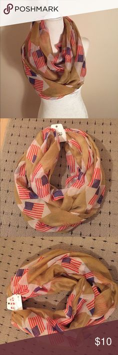 🆕American Flag 🇺🇸 Infinity scarf Brand new American Flag 🇺🇸 infinity scarf! Perfect for July 4th lightweight scarf Accessories Scarves & Wraps