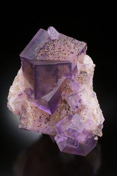 Purple Fluorite Cube Cluster lightly dusted with Pyrite Flecks! (photo credit bijoux et mineraux)