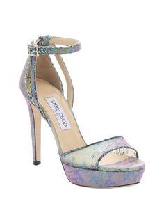 Jimmy Choo aloe mix holographic lace 'Kayden' stiletto sandals