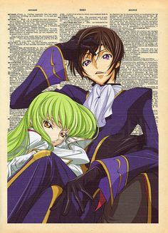 Code Geass Lelouch and CC Dictionary Art Print by AmourPrints
