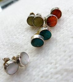 Small stone and silver stud earrings  20 off your second by PeruNz, $17.00