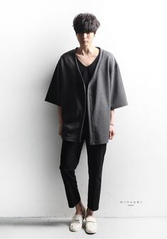 avant-garde minsobi cardigan – Men's loose knit cardigan. In style long length without pockets for a cool street wear fashion look. Clean lines for an urban drape style look.  Be different - be yourself - be authentic – minsobi Japan fashion! I am not like everybody, I am minsobi.  high-quality choice  2 colours: black, grey 1 size: one size