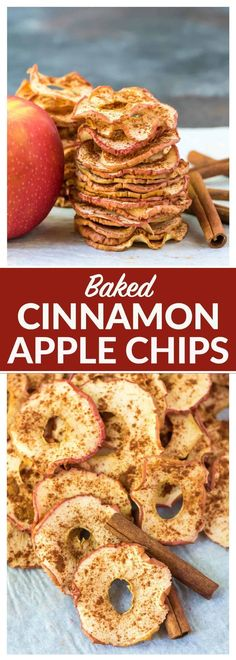 Crispy Baked Apple Chips. Simple oven baked chips recipe with just cinnamon and apples, no sugar or dehydrator needed! Easy, healthy snack recipe. Kids love them and they're a great food gift idea. Recipe at wellplated.com #healthy #cleaneating #snacks #recipe via @wellplated