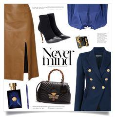 """Never Mind"" by marina-volaric ❤ liked on Polyvore featuring Bouchra Jarrar, Balmain, Gucci, Yves Saint Laurent, Diane Von Furstenberg, Versace and NYX"
