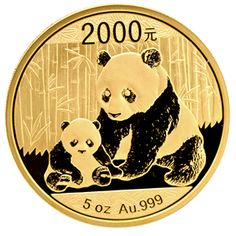 This big Proof Gold Chinese Panda coin contains a full 5 troy oz of .999 fine Gold. It comes with a wooden box and a certificate of authenticity. Don't wait to add this impressive Panda to your collection!