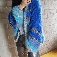 #kirobykim #chunkyknits #newstyle #blues #silver #handknit #slowfashion #uniquebrand #luxuryknitwear #pre-order #newestaddiction #fashion Hand Knitted Sweaters, Mohair Sweater, Cardigan Fashion, Knit Fashion, Kiro By Kim, Boho Outfits, Fashion Outfits, Knitting Blocking, Knit Picks