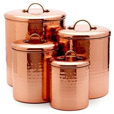 S/4 ASSORTED CANISTERS, COPPER  $113.99 $75 by S4 at One Kings Lane          Available Colors: Available Sizes: DETAILS With their tarnish-resistant, hammered finish and generous storage capacity, these copper-plated steel canisters are the perfect countertop storage solution for dry baking ingredients, snacks, or even doggie treats.The kitchen is often the hub of the home, so why not outfit it in high style? From Old Dutch comes a collection of high-quality, b