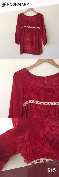 "🌷SALE🌷Vintage 60s/70s Handmade Velvet Mini Dress Vintage 60s/70s Red Handmade Velvet Empire Dress Long bell sleeves, empire waist, boat neck, appears to be handmade/custom made Seams fraying under arms and previous owner had shortened the dress into a mini Measuring a Size XS/S  Approximate Flat Measurements Bust 17.5"" Waist 14"" Shoulders 15"" Sleeves 21"" Length 29"" Vintage Dresses Mini"