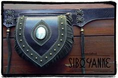 Leather Utility Belt with Moonstone by Sibo Yanke
