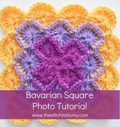 FREE crochet pattern and tutorial for a Bavarian Square Tutorial by The Stitchin' Mommy. The pattern comes with lots of photos. Crochet Square Patterns, Crochet Stitches Patterns, Crochet Squares, Crochet Motif, Knitting Patterns, Granny Squares, Afghan Patterns, Crochet Granny, Crochet Afghans