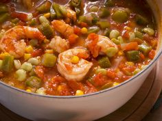 """Okra Soup with Shrimp (Potluck Party) - Kardea Brown of Kardeas Kuisine, Guest on Nancy Fuller, """"Farmhouse Rules"""" on the Food Network. Shrimp Recipes, Soup Recipes, Cooking Recipes, Chili Recipes, Gumbo Recipes, Recipies, Barbecue Recipes, Oven Recipes, Easy Cooking"""
