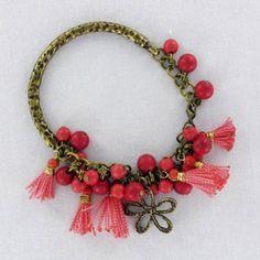 Pulsera, bisuteria, roja, oro viejo, flor Luz de Luna - Catalogo de joyería