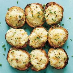 """Lemon-Caper Parmesan Potato Salad Bites Recipe   Turn """"jacket potatoes"""" into irresistible potato salad bites. Capers offer a twist on traditional relish; they're actually pickled flower buds and add bright, briny flavor to this appetizer.   MyRecipes.com"""