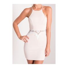 Lace Panel White Sleeveless Bodycon Dress ($21) ❤ liked on Polyvore featuring dresses, white, white mini dress, white day dress, sleeveless bodycon dress, bodycon mini dress and white sleeve dress