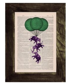 Vintage book print Elephant hot air  Balloon Print on Vintage Book - Nursery wall art. $7.99, via Etsy.