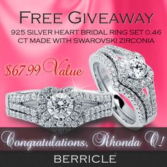 GIVEAWAY WINNER ANNOUNCEMENT!   Rhonda O. has been drawn as the lucky winner of our latest giveaway, congratulations! Rhonda, please reply the email we sent to you to redeem your prize.  *See the event: http://www.berricle.com/giveaway  *See this lovely ring at: http://www.berricle.com/swarovski-cz-925-silver-heart-shape-2-pc-bridal-ring-set-0-46-ct-jewelry-r825-swcl.htm  Thanks to everyone attended our giveaway! Stay tuned for the next giveaway. Coming soon! #BerricleGiveaway #berricle…