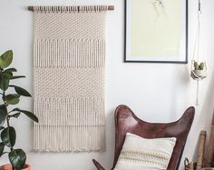 Macrame Wall Hanging  CHEVRONS  100% Cotton Cord in by JoJansenCo