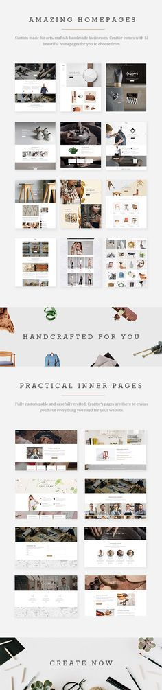 Creator - A Refined Theme for Handmade Artisans, Businesses & Shops #jewelry #portfolio #product • Download ➝ https://themeforest.net/item/creator-a-refined-theme-for-handmade-artisans-businesses-shops/19101474?ref=pxcr