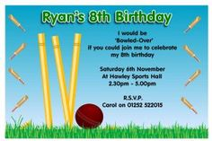 10 Personalised Cricket Birthday Party Invitations Create your own custom design birthday invitations suitable for all ages boys and girls Soccer Birthday Parties, Football Birthday, Sports Birthday, Free Birthday, 8th Birthday, Card Birthday, Birthday Celebration, Birthday Ideas, Happy Birthday