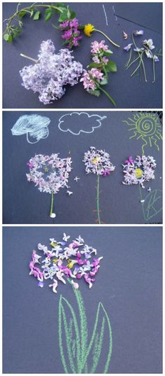 {Spring flower crafts for kids}  Wonderful sensory craft!  Kids can create some beautiful flower art -- great hands-on art process!