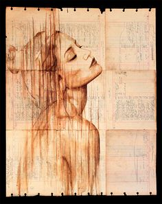Portraits Painted with Coffee on Century-Old Ledger Paper by Michael Aaron WilliamsAugust 5, 2013
