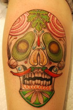 vegetable sugar skull chili peppers avacado lettuce tattoo
