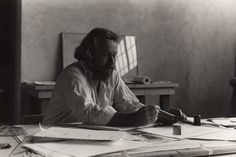 Donald Judd drawing at his studio in Marfa, Texas.