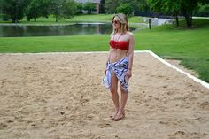 beach cover up | black & white sarong, juicy couture red bikini | summer beach style