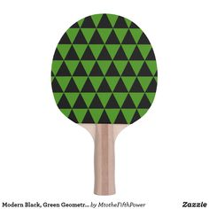 Modern Black, Shamrock Green Geometric Triangles Ping-Pong Paddle by M to the Fifth Power Ping Pong Table Tennis, Ping Pong Paddles, Triangles, Green, Modern, Black, Design, Trendy Tree, Black People