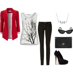 red blazer, twiggy tank top, skinny jeans, black stilettos, black clutch, black sunglasses and bird necklace.