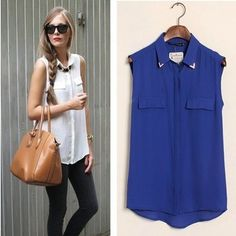 4color women sexy sequined stud collar blouse shirt fashion lady vintage sleeveless long blouse