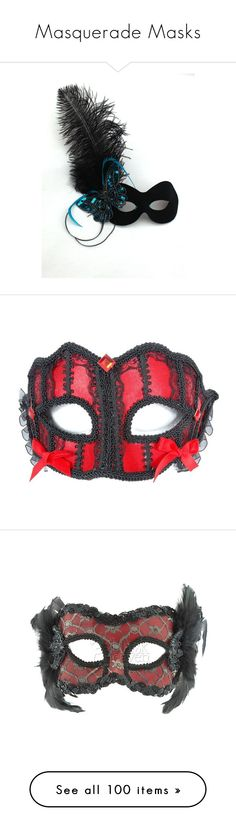 """""""Masquerade Masks"""" by bvbzombies98 ❤ liked on Polyvore featuring masks, accessories, costumes, mascara, red costumes, red halloween costumes, costume, red, silver costume and lace costume"""