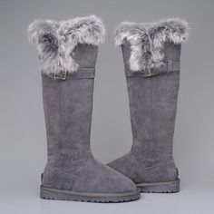 tan white fur boots tall - Google Search