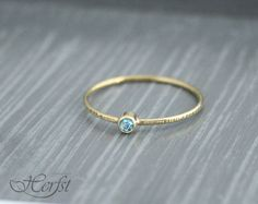 ONE tiny delicate 14K solid Yellow, White or Rose Gold Hammered Stacking Ring with a real blue Topaz