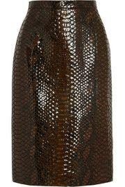 Burberry ProrsumGlossed python-effect suede pencil skirt
