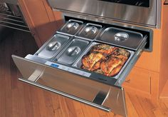 organization-spacesaver-Wolf-warming, cooling and microwave drawers Dr Kitchen, Kitchen Dining, Kitchen Ideas, Cool Kitchens, Small Kitchens, Kitchen Remodel, Kitchen Renovations, Cooking Appliances, Warm Food
