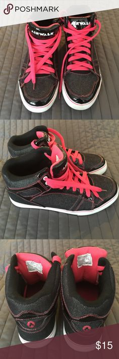 AIRWALK Pink and Black High Tops. Womans size 11 Like NEW condition. AIRWALK Pink and Black high tops. Worn maybe a couple of times. These are super cute. Womans SIZE 11 Airwalk Shoes Athletic Shoes