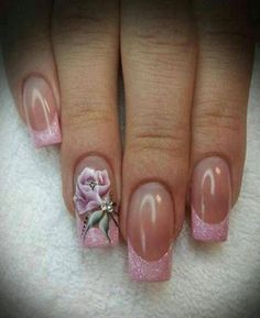 trendy nails coffin french tip nailart Fancy Nails, Love Nails, Trendy Nails, Pink Nails, My Nails, Classy Nails, Simple Nails, Beautiful Nail Designs, Cute Nail Designs