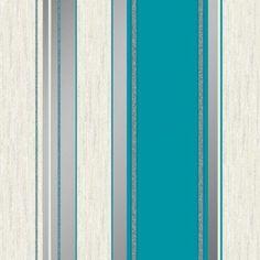 Synergy Glitter Stripe Teal Wallpaper by Vymura London M0801 £12.75