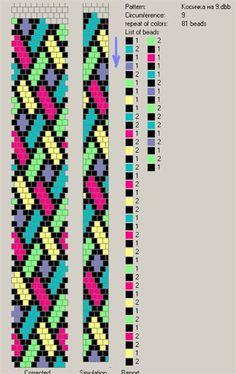 9 around - 81 pattern. Free pattern for beaded crochet rope Mallow Peyote Stitch Patterns, Bead Crochet Patterns, Beading Patterns Free, Seed Bead Patterns, Bead Crochet Rope, Beaded Crochet, Free Pattern, Crochet Beaded Bracelets, Crochet Diagram