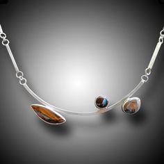 KOROIT OPAL Necklace Sterling Silver Necklace with  Koroit Boulder Opals. $658.00, via Etsy.